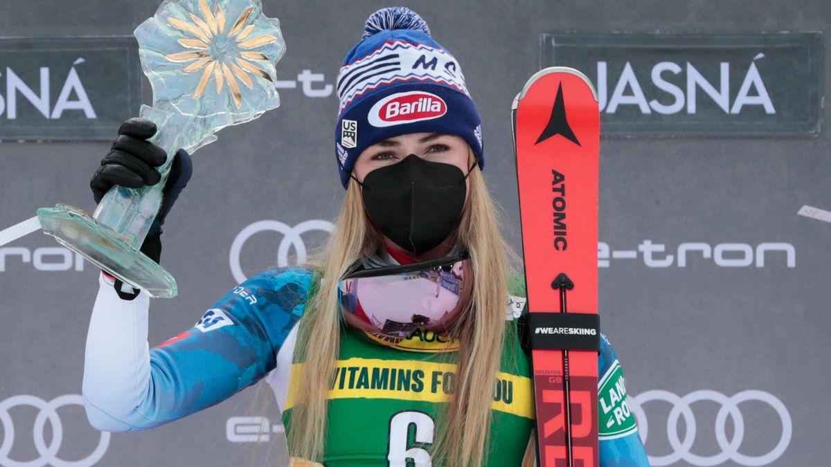 Mikaela Shiffrin celebrates victory