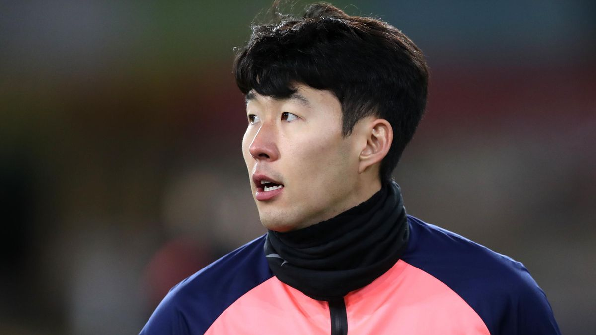 Son Heung-Min of Tottenham Hotspur looks on during the warm up prior to the Premier League match between Wolverhampton Wanderers and Tottenham Hotspur at Molineux