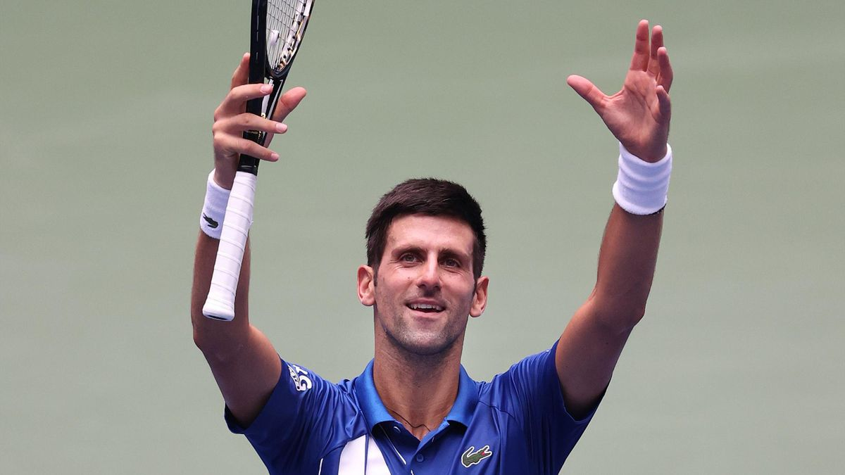 Novak Djokovic of Serbia celebrates winning match point during his Men's Singles second round match against Kyle Edmund of Great Britain on Day Three of the 2020 US Open at the USTA Billie Jean King National Tennis Center on September 2, 2020 in the Queen