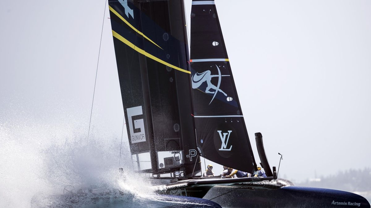 Artemis Racing Sweden, skippered by Nathan Outteridge, races