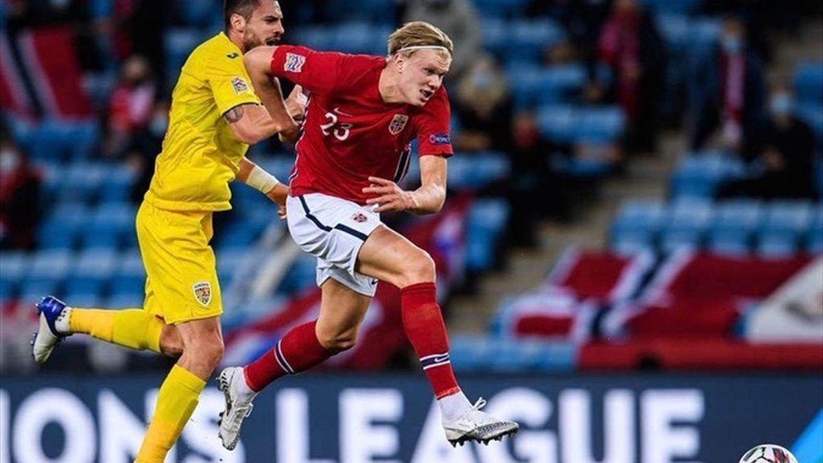 Haaland, în duel cu Burcă, în Norvegia - România 4-0