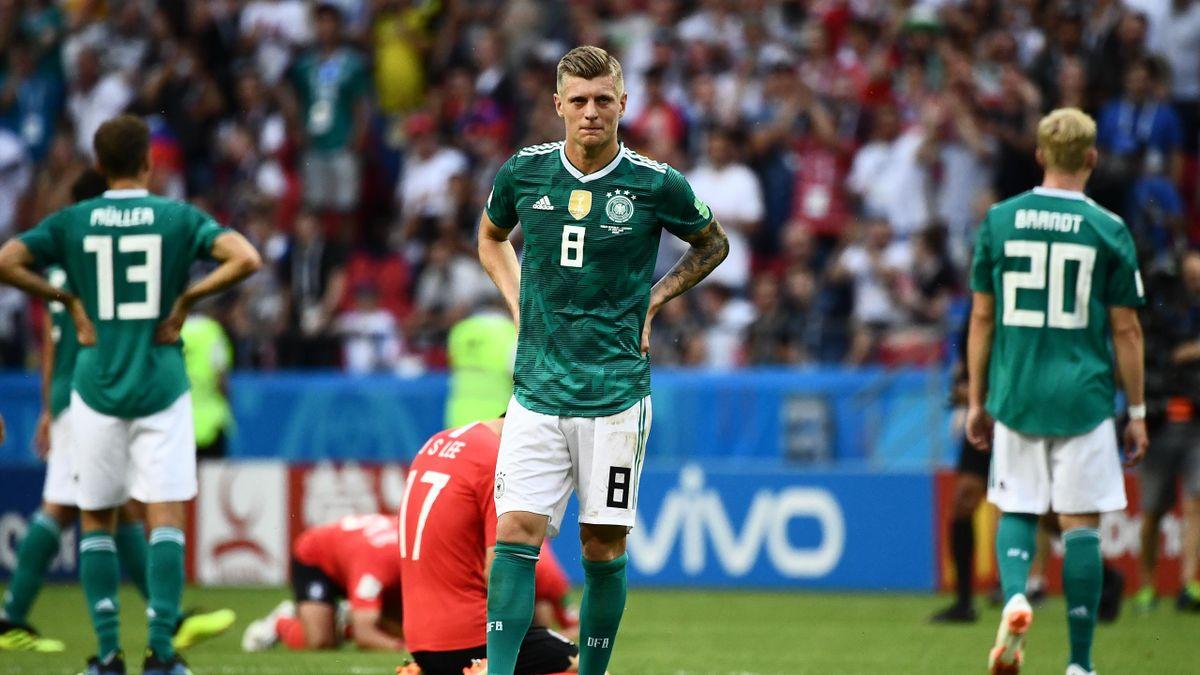 Germany's forward Thomas Mueller, Germany's midfielder Toni Kroos and Germany's forward Julian Brandt