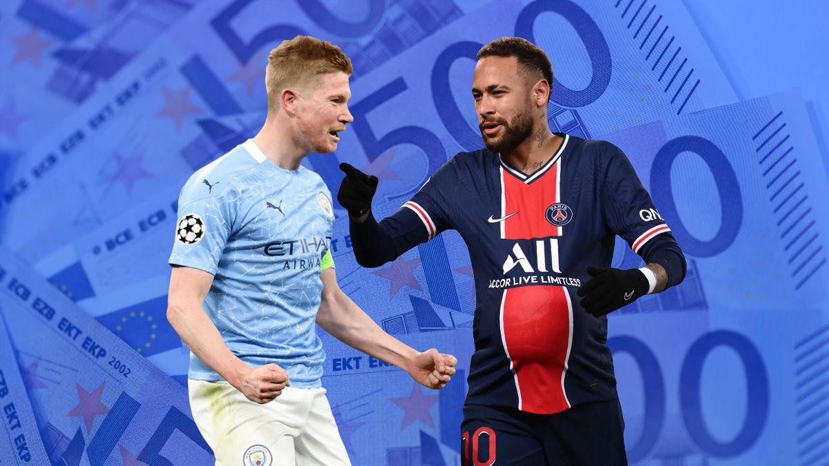 Kevin de Bruyne et Neymar, les recrues les plus chères de l'histoire de Manchester City et du PSG.