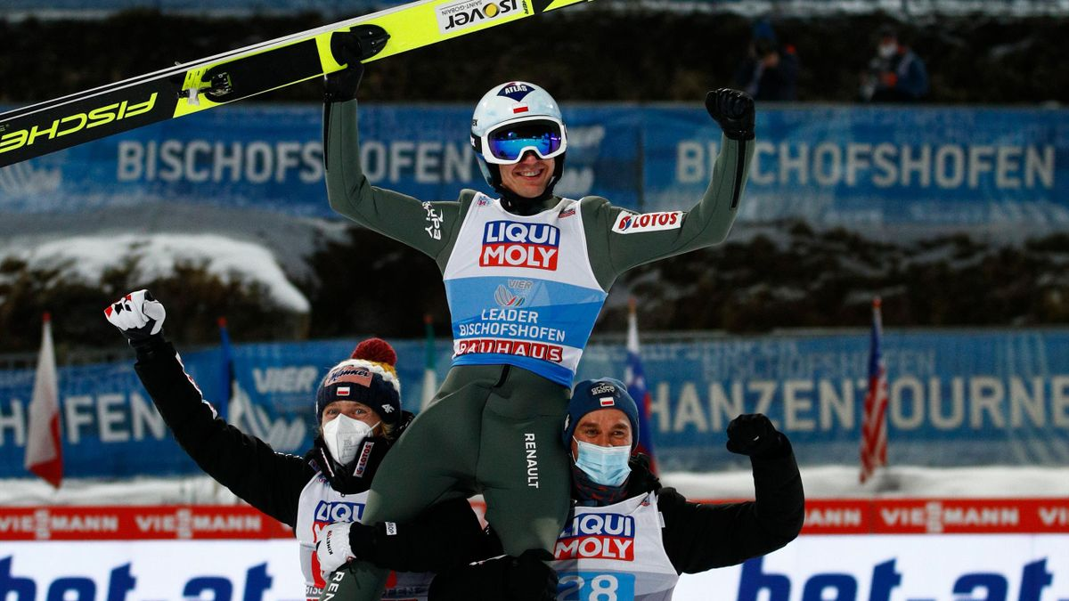 : Kamil Stoch of Poland celebrates after the final round at the Four Hills Tournament 2020 Bischofshofen at Paul Ausserleitner Hill on January 06, 2021 in Bischofshofen, Austria