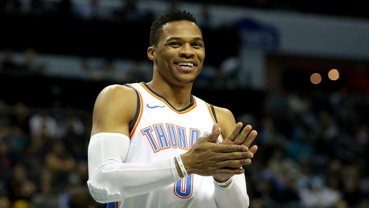 Russell Westbrook (Oklahoma City Thunder) tout sourire