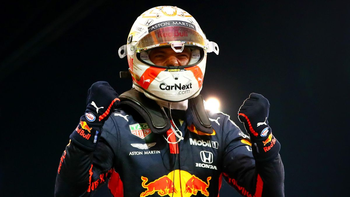 Race winner Max Verstappen of Netherlands and Red Bull Racing celebrates in parc ferme during the F1 Grand Prix of Abu Dhabi at Yas Marina Circuit on December 13, 2020