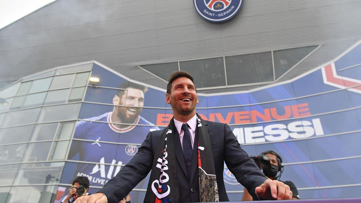 Lionel Messi lors de sa présentation au PSG.