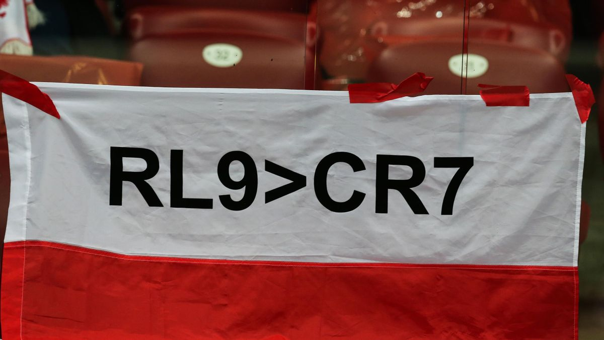 Robert Lewandowski flag during the FIFA World Cup 2018 qualification match between Poland and Kazakhstan in Warsaw on September 4, 2017