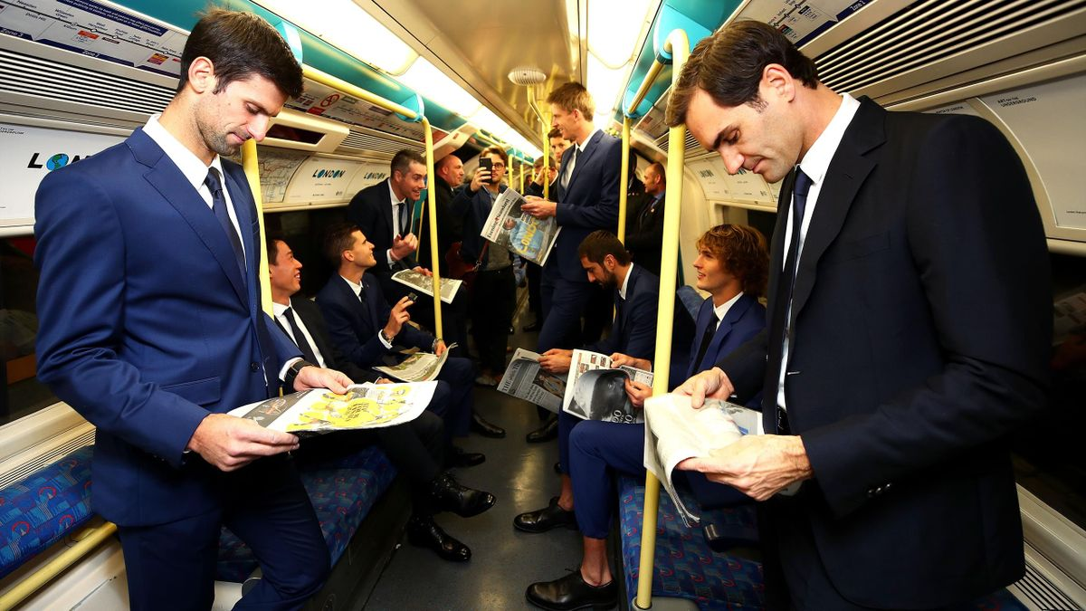 The eight singles players competing at the Nitto ATP Finals take the Jubilee line on the London Underground from North Greenwich station to Westminster station to attend the Nitto ATP Finals Official Launch presented by Moet & Chandon at London's iconic H