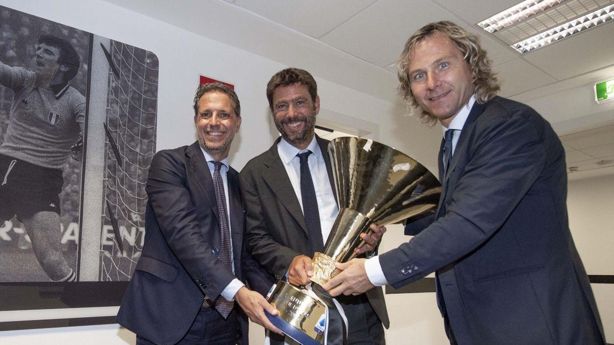 Agnelli, Paratici e Nedved con lo scudetto del 2020, Juventus