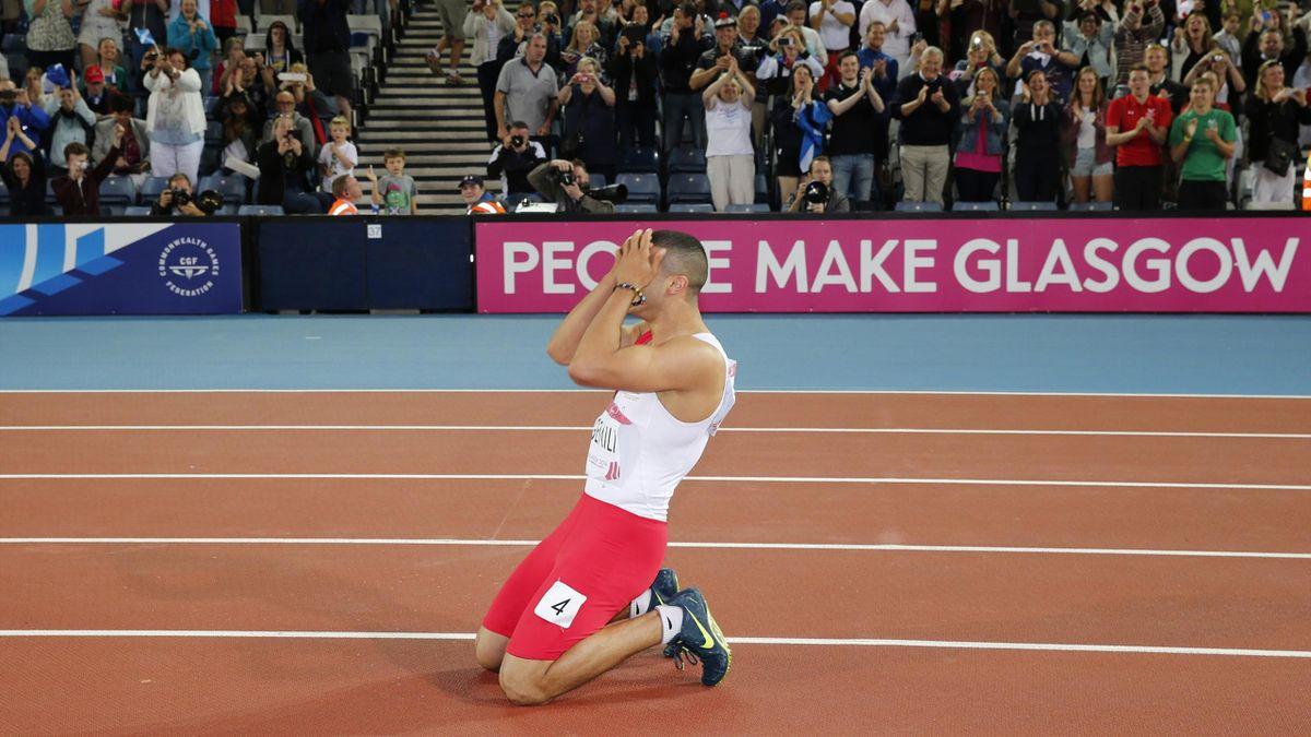 Adam Gemili of England celebrates winning silver (Reuters)