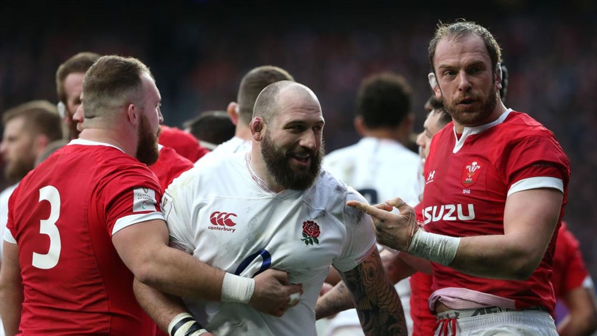 Wales captain Alun Wyn-Jones points at Joe Marler of England who supposedly kissed him during a fight during the 2020 Guinness Six Nations match between England and Wales at Twickenham Stadium on March 7, 2020 in London, England.