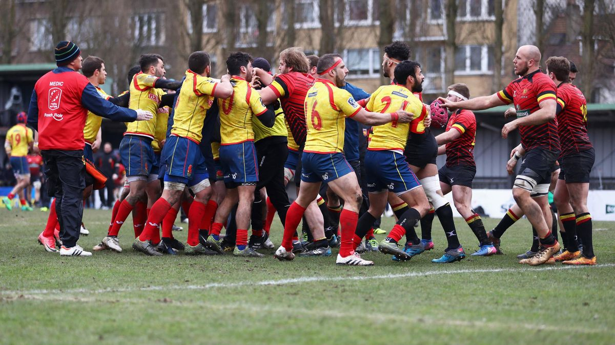 Players of Spain and of Belgium confront each other after the Rugby World Cup 2019 Europe Qualifier match between Belgium and Spain held at Little Heysel next to King Baudouin Stadium.