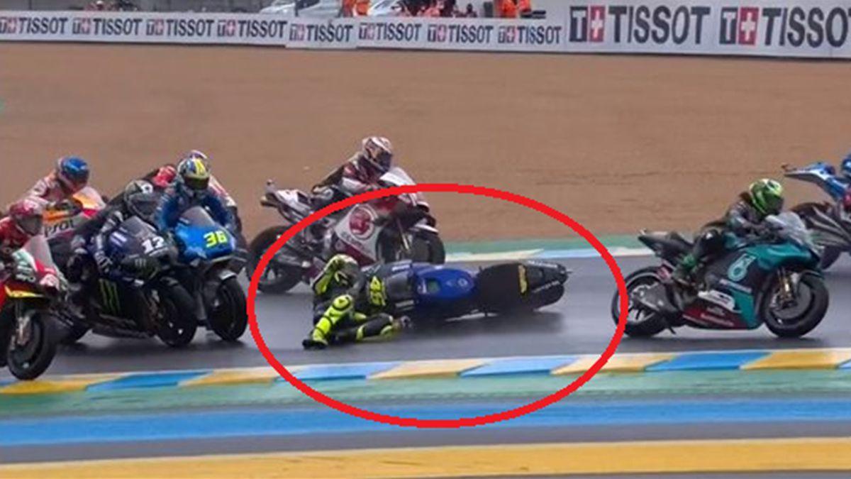 Valentino Rossi caduta a Le Mans, Twitter