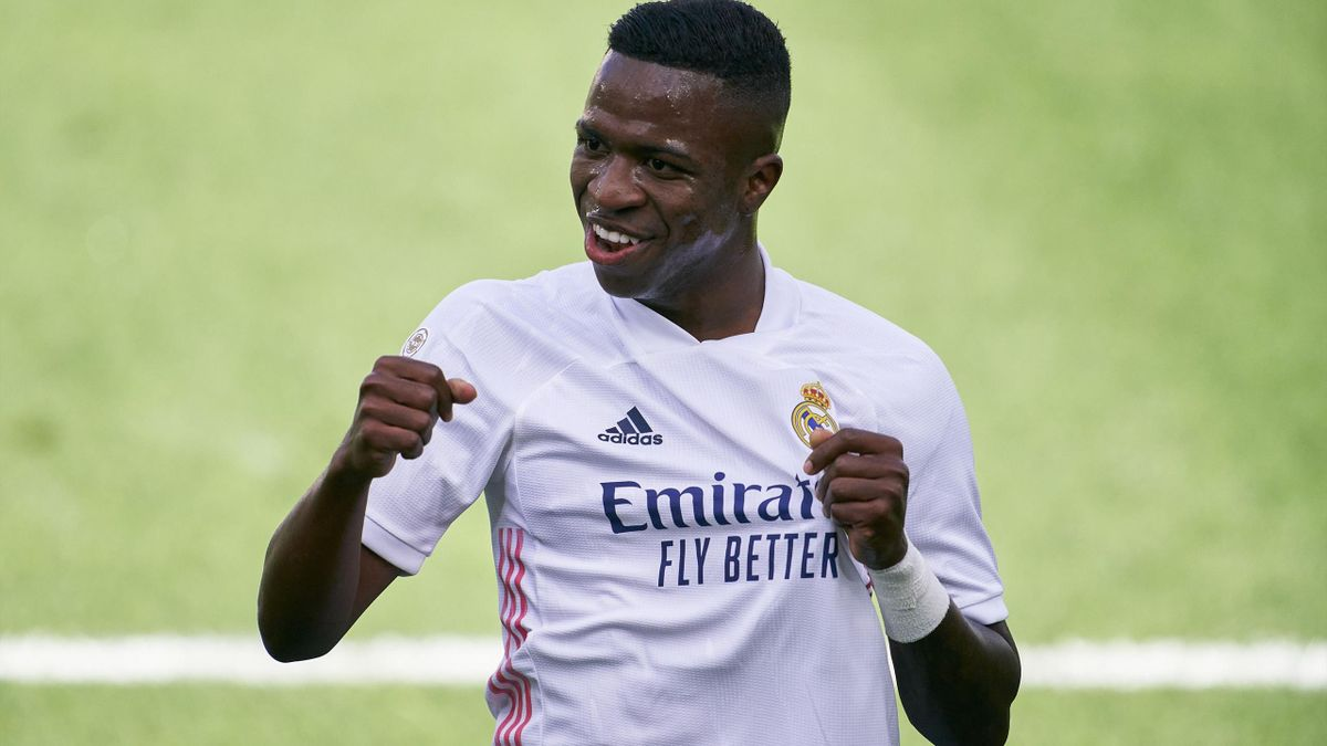 Vinicius Junior of Real Madrid celebrates after scoring his team's first goal during the La Liga Santander match between Levante UD and Real Madrid