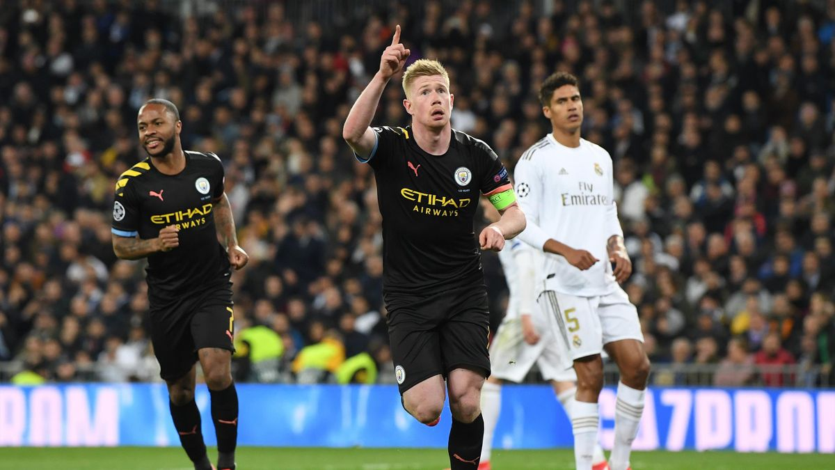 Kevin De Bruyne of Manchester City celebrates after scoring his team's second goal during the UEFA Champions League round of 16 first leg match between Real Madrid and Manchester City at Bernabeu on February 26, 2020 in Madrid, Spain