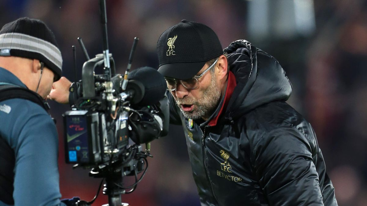 Liverpool manager Jurgen Klopp speaks into a Steadicam television camera after the Premier League match between Liverpool and Everton at Anfield on December 2, 2018 in Liverpool, United Kingdom