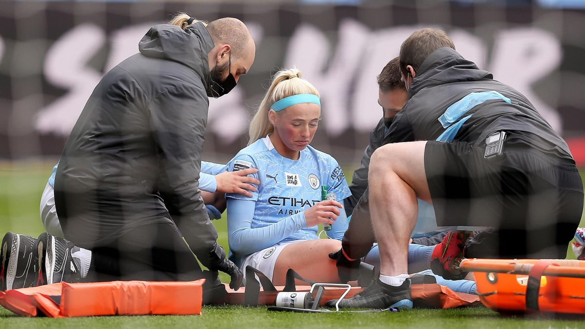 Chloe Kelly of Manchester City receives treatment, Manchester City women v Birmingham City women, Women's Super League, Manchester City Football Academy, May 02, 2021