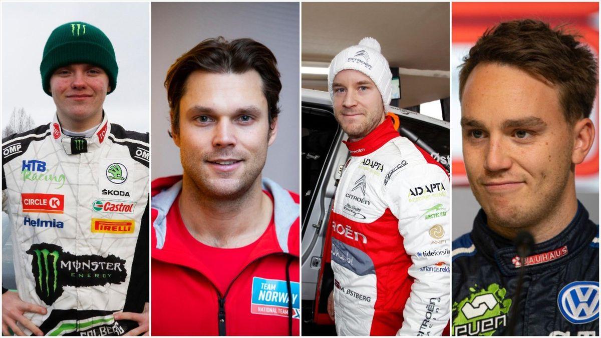 Oliver Solberg, Andreas Mikkelsen, Mads Østberg og Ole Christian Veiby.