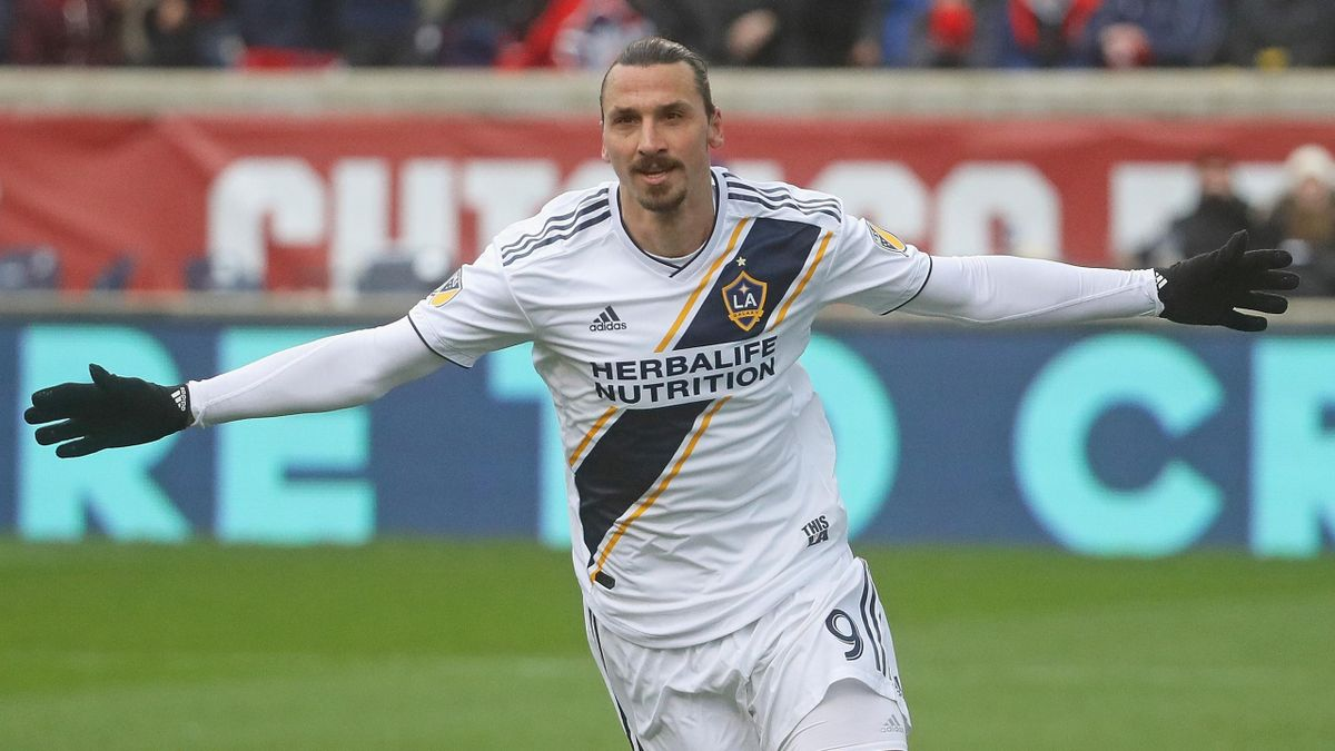 Zlatan Ibrahimovic #9 of the Los Angeles Galaxy celebrates his first half goal against the Chicago Fire at Toyota Park on April 14, 2018 in Bridgeview, Illinois.