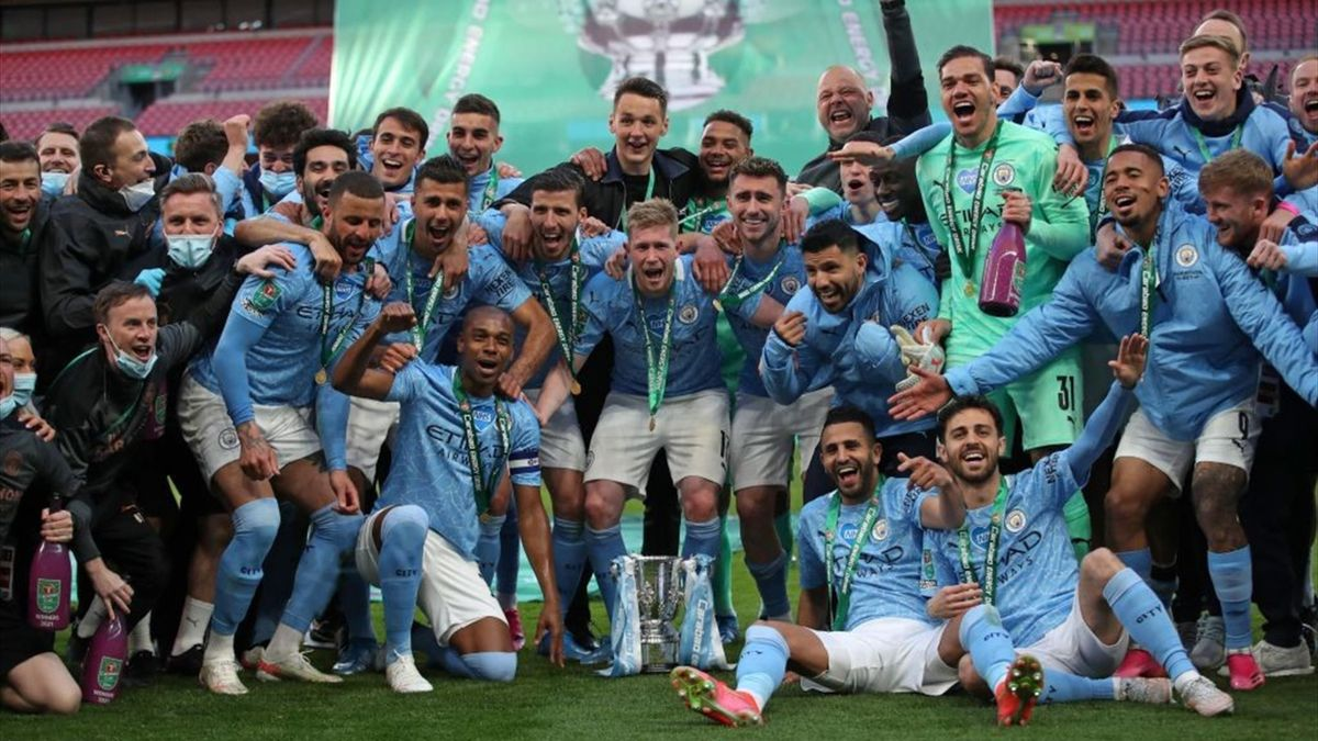 I giocatori del City festeggiano la vittoria della Coppa di Lega - Manchester City-Tottenham Coppa di Lega 2020-21