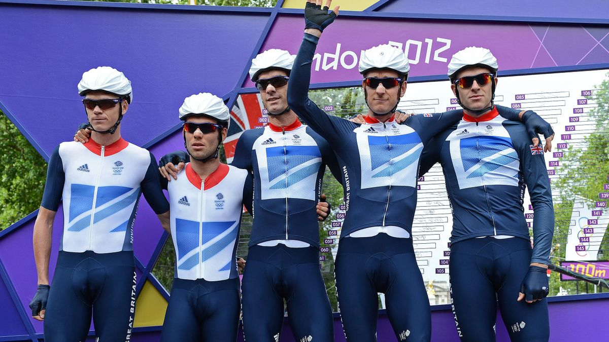 Britain's cyclists Christopher Froome, Mark Cavendish, Ian Stannard, Bradley Wiggins, and David Millar of Team GB