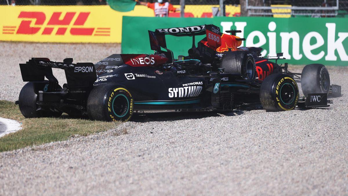 Льюис Хэмилтон (Mercedes) и Макс Ферстаппен (Red Bull), авария на Гран-при Италии