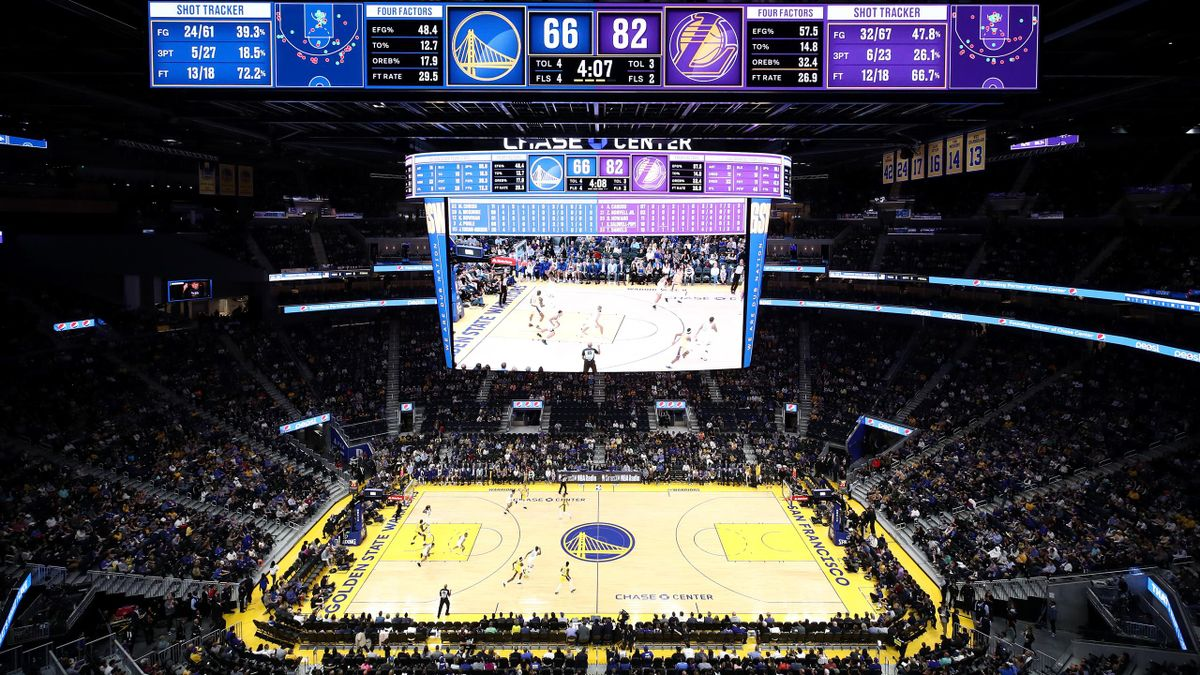 A general view of the Golden State Warriors playing against the Los Angeles Lakers in a preseason game at Chase Center on October 05, 2019 in San Francisco, California
