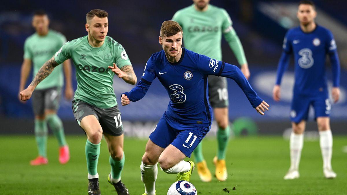 Chelsea-Everton, Premier League 2020-2021: Timo Werner (Chelsea), braccato da Lucas Digne (Everton) (Getty Images)