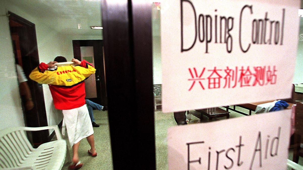 A Chinese swimmer makes her way into an anti-doping testing room during the Beijing-leg of the FINA Swimming World Cup 25 February. Various Chinese swimmers were tested during the tournament as part of the ongoing anti-doping move by FINA