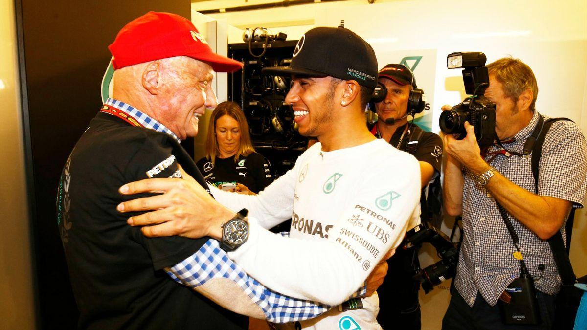 Niki Lauda, Lewis Hamilton (Mercedes) - GP of Abu Dhabi 2014
