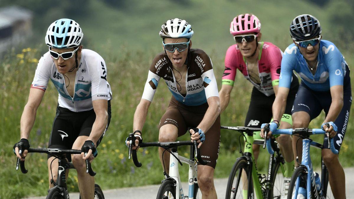Romain Bardet dans la roue de Geraint Thomas lors de la 5e étape du Dauphiné