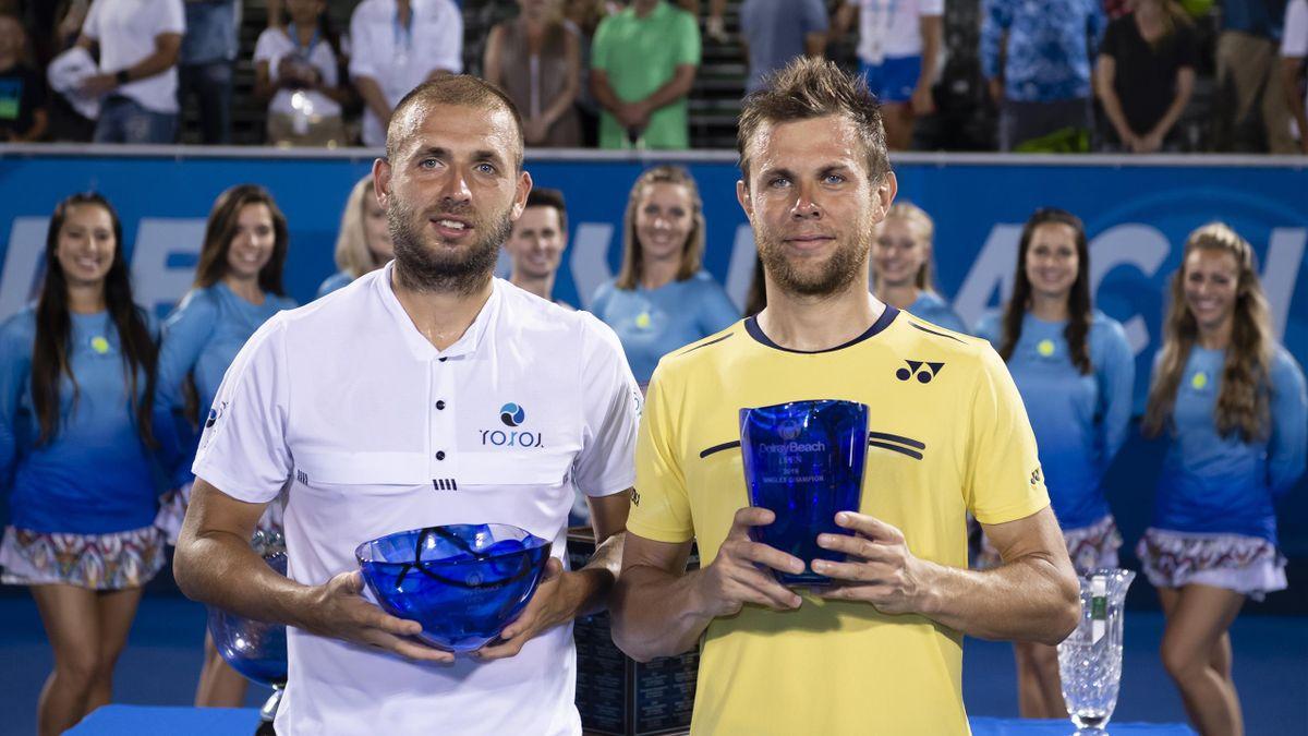 Daniel Evans et Radu Albot après la finale du tournoi de Delray Beach