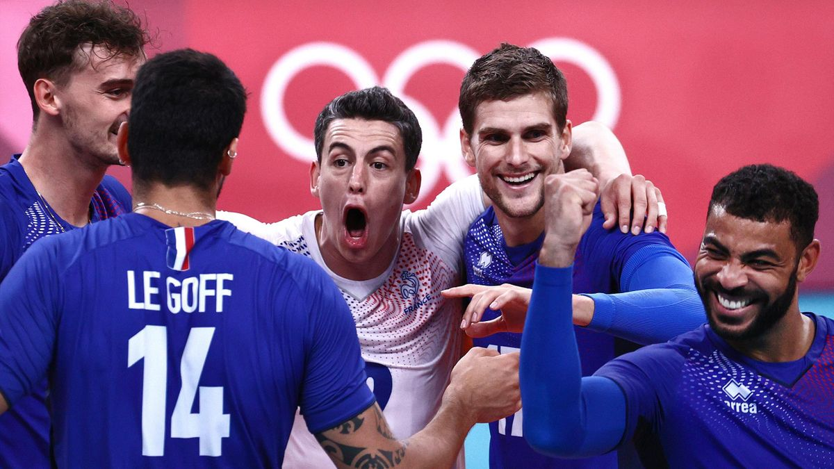 L'équipe de France de volley, championne olympique lors des JO de Rio, contre la Russie, le 7 août 2021