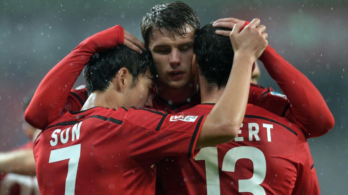 Leverkusen player after a goal against Augsburg - 24/09/14