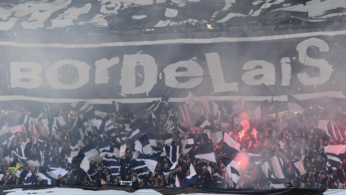 Un kop de supporters bordelais durant Bordeaux - Nice le 25 février 2018