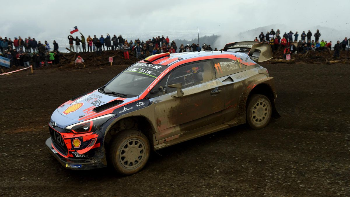 Thierry Neuville of Belgium and Nicolas Gilsoul of Belgium compete with their Hyundai Shell Mobis WRT Hyundai i20 Coupe WRC during the Shakedown of the WRC Copec Chile on May 9, 2019 in Concepcion, Chile