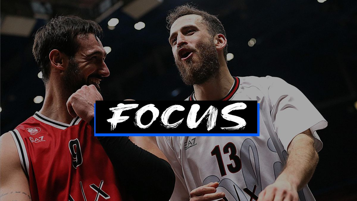 Sergio Rodriguez, #13 of AX Armani Exchange Milan and Riccardo Moraschini, #09 of AX Armani Exchange Milan celebrates at the end of 2020/2021 Turkish Airlines EuroLeague Regular Season Round 21 match between AX Armani Exchange Milan and FC Bayern Munich a