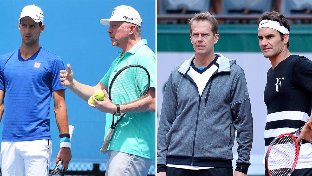 Novak Djokovic and Boris Becker, and Stefan Edberg and Roger Federer