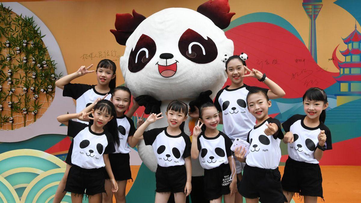 Rongbao, das Maskottchen der Weltspiele des internationalen Universitäts-Sportverband FISU im chinesischen Chengdu