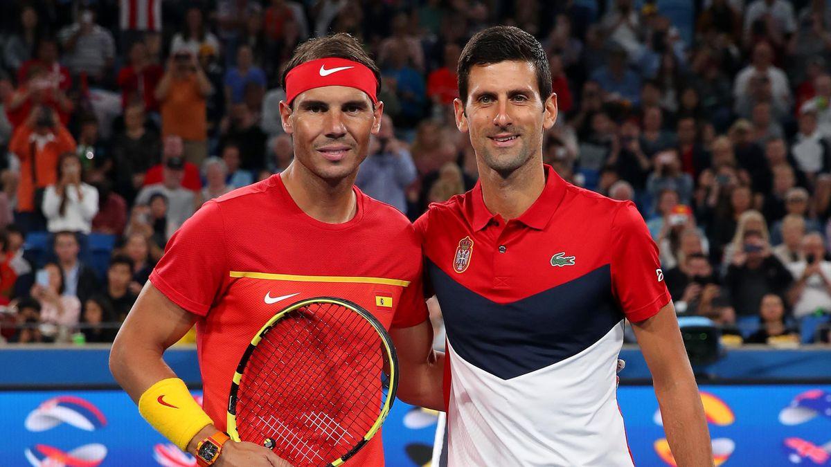 Rafael Nadal et Novak Djokovic avant la finale Espagne - Serbie de l'ATP Cup 2020 à Sydney