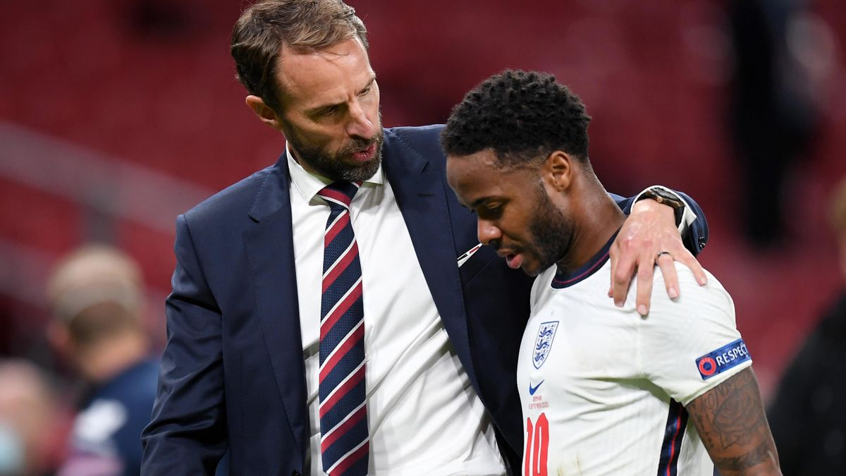 Gareth Southgate, Manager of England consoles Raheem Sterling of England