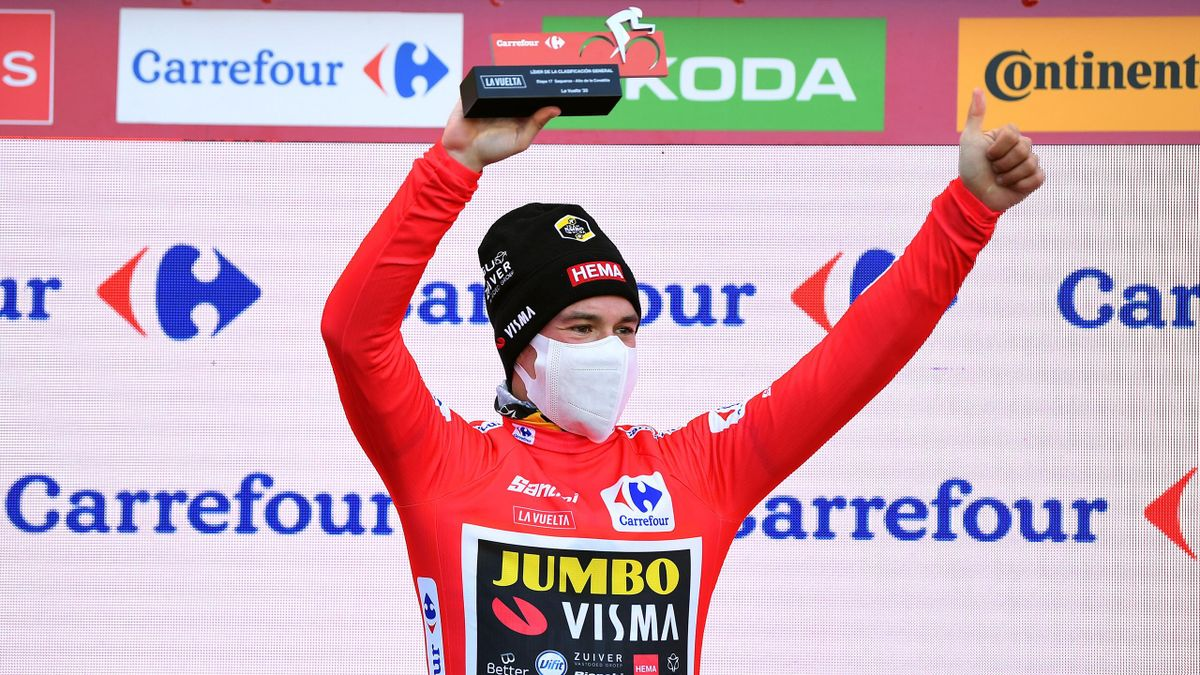 Primoz Roglic of Slovenia and Team Jumbo - Visma Red Leader Jersey / Celebration / Mask / Covid safety measures / during the 75th Tour of Spain 2020, Stage 17 a 178,2km stage from Sequeros to Alto de la Covatilla-Sierra de Béjar 1965m / @lavuelta / #LaVue