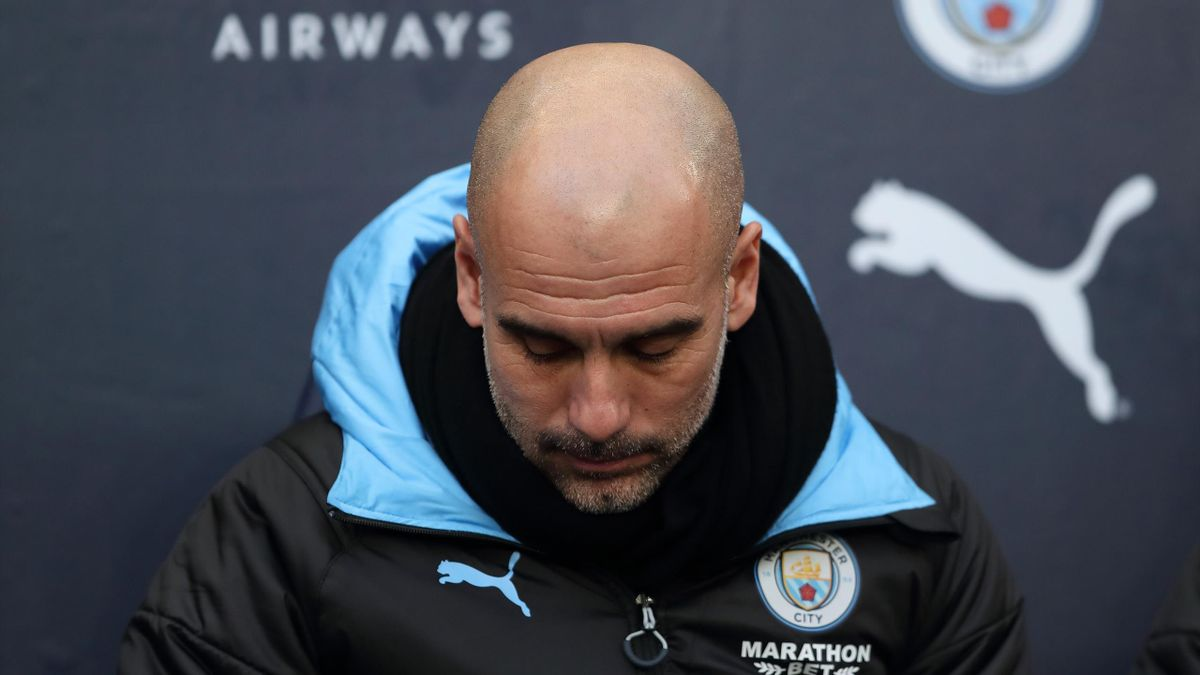 A dejected Manchester City manager / head coach Pep Guardiola during the Premier League match between Manchester City and Crystal Palace