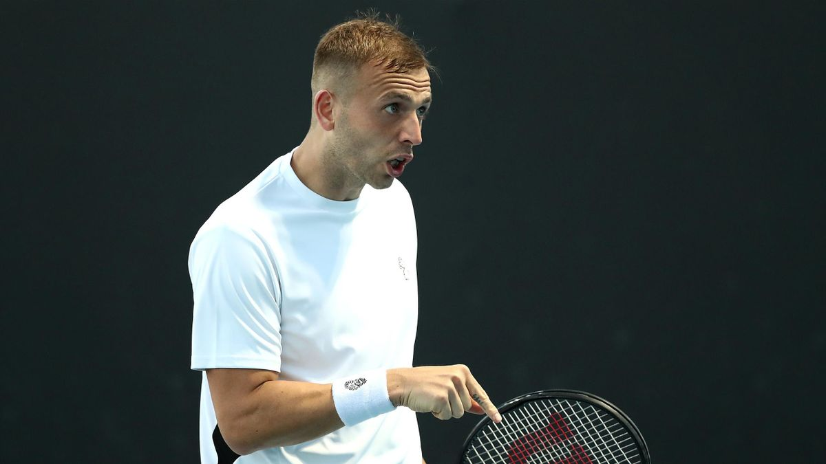 Daniel Evans of Great Britain reacts in his Men's Singles first round match against Cameron Norrie of Great Britain during day two of the 2021 Australian Open at Melbourne Park