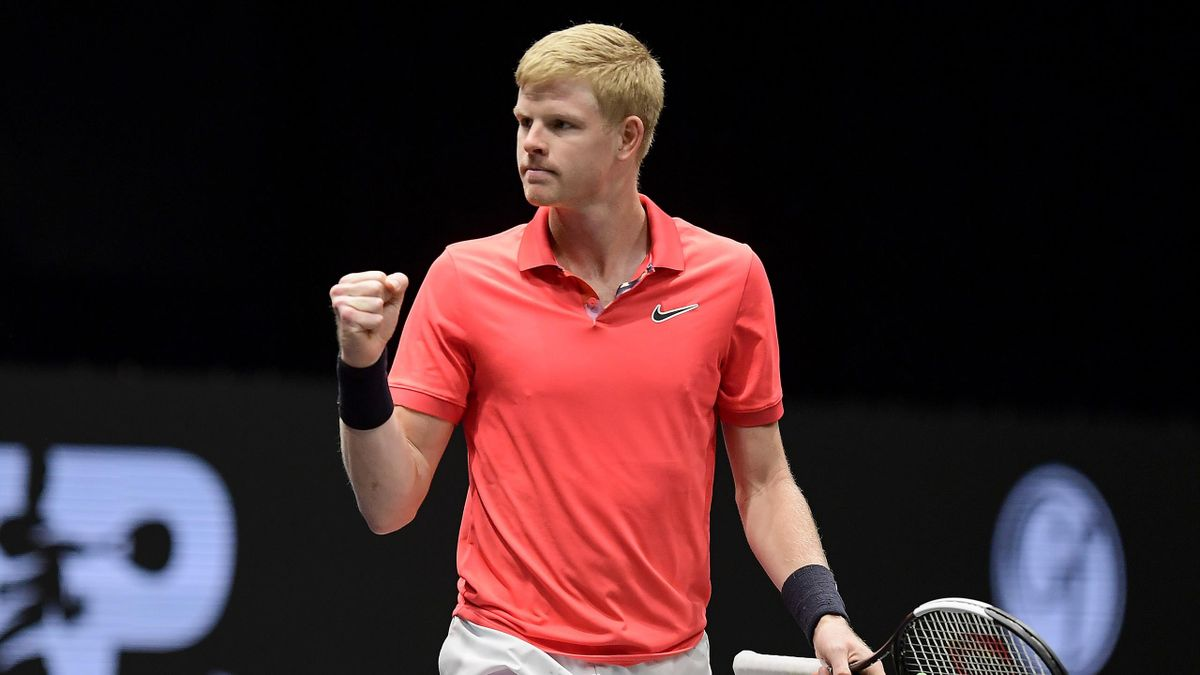 Kyle Edmund of Great Britain celebrates a point during his Men's Singles semifinal match against Miomir Kecmanovic of Serbia on day six of the 2020 NY Open at Nassau Veterans Memorial Coliseum on February 15, 2020 in Uniondale, New York.