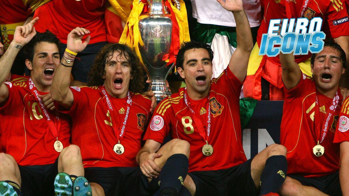 Xavi and Spain celebrate their Euro 2008 triumph