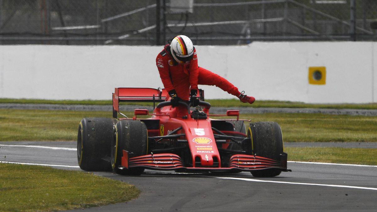 Rollte mit einem kapuutem Ferrari in Silverstone im Training aus: Sebastian Vettel