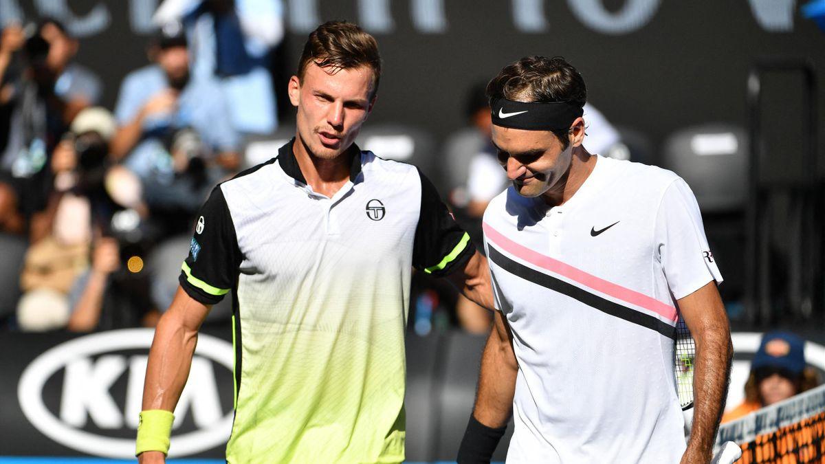 Roger Federer és Fucsovics Márton Melbourne-ben