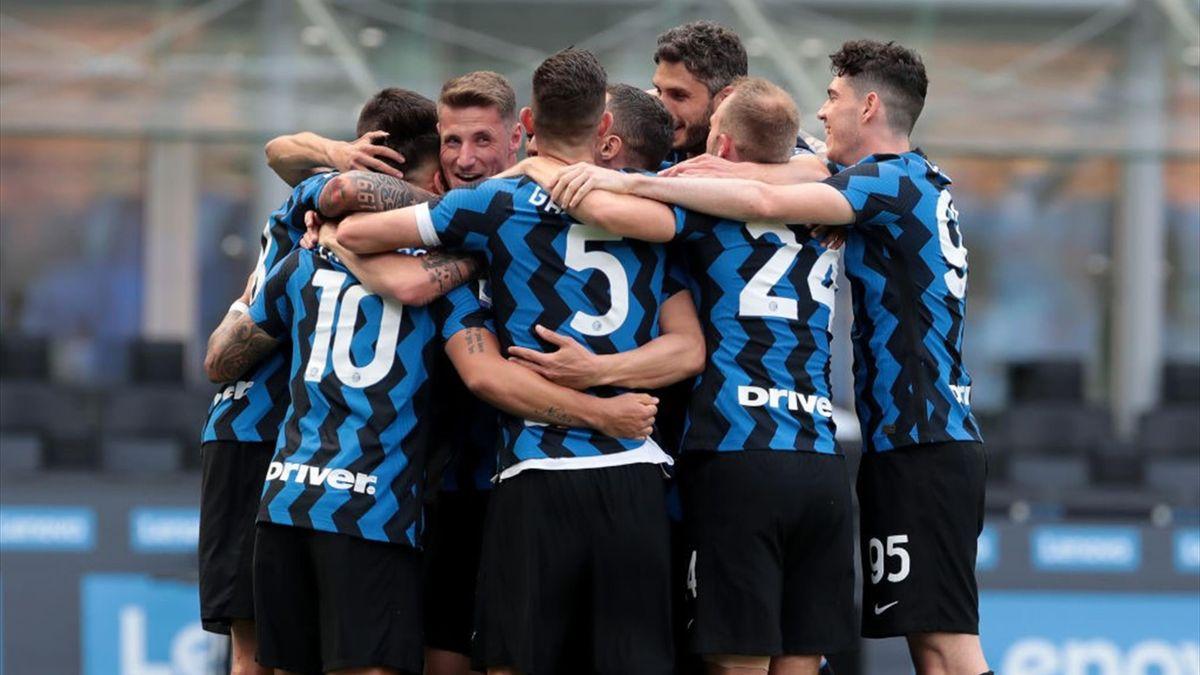 L'esultanza dei giocatori dell'Inter - Inter-Udinese Serie A 2020-21